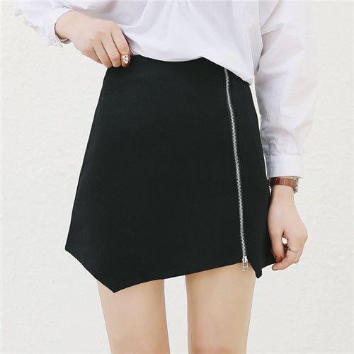 高腰纯色A字拉链短裙